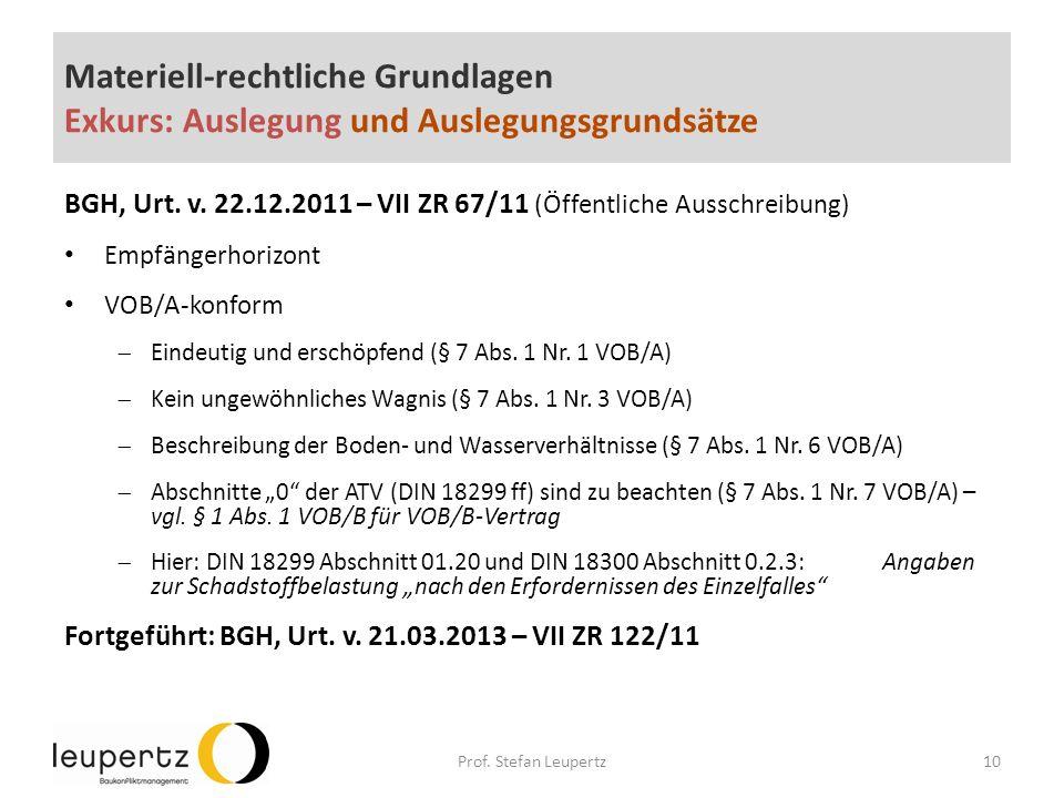 Materiell-rechtliche Grundlagen Exkurs: Auslegung und Auslegungsgrundsätze BGH, Urt.