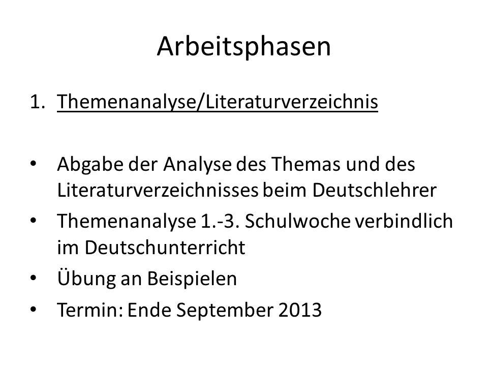 Arbeitsphasen 1.Themenanalyse/Literaturverzeichnis Abgabe der Analyse des Themas und des Literaturverzeichnisses beim Deutschlehrer Themenanalyse 1.-3