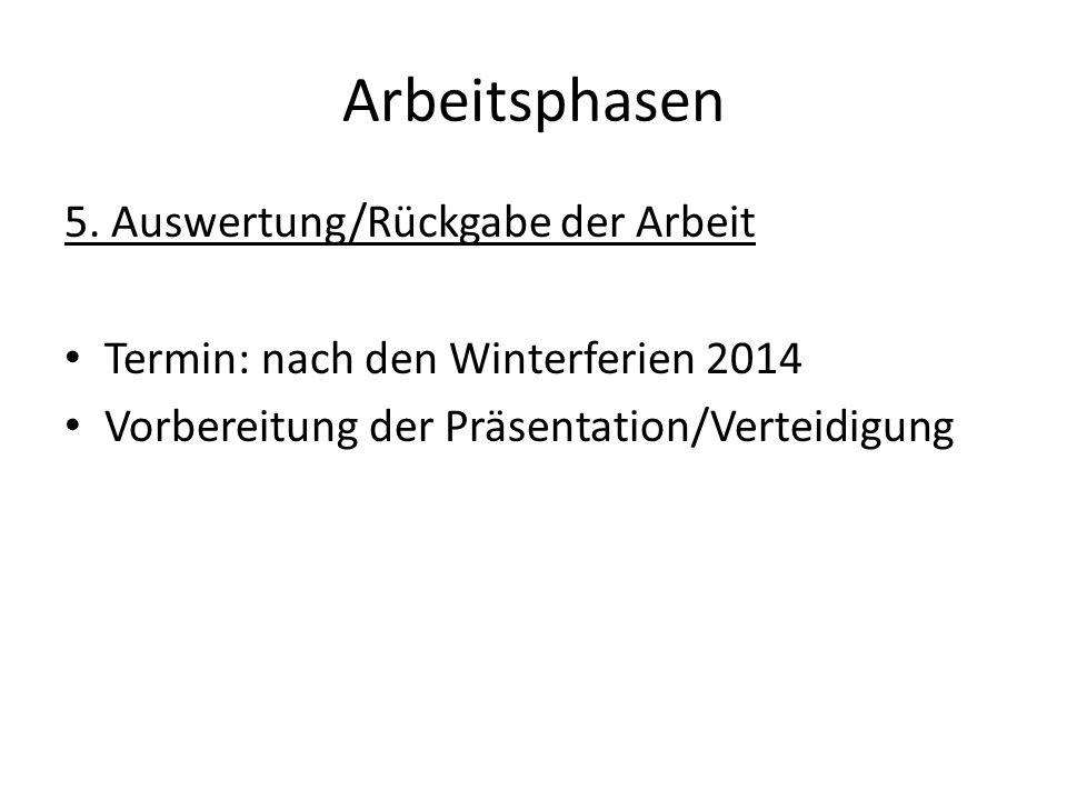 Arbeitsphasen 5. Auswertung/Rückgabe der Arbeit Termin: nach den Winterferien 2014 Vorbereitung der Präsentation/Verteidigung