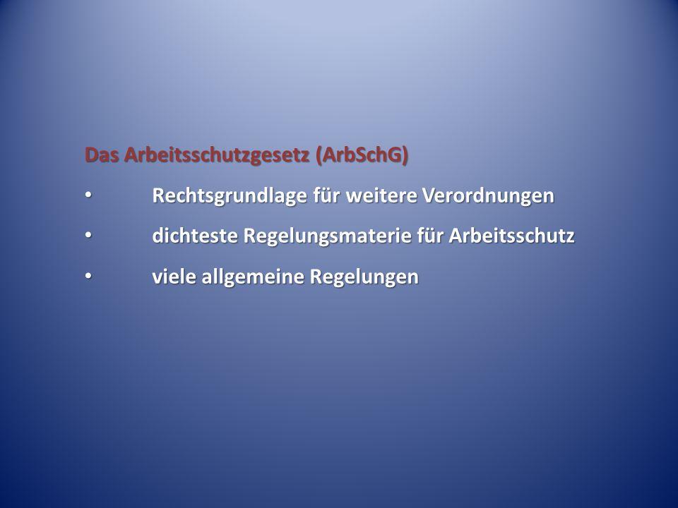 Das Arbeitsschutzgesetz (ArbSchG) Rechtsgrundlage für weitere Verordnungen Rechtsgrundlage für weitere Verordnungen dichteste Regelungsmaterie für Arb