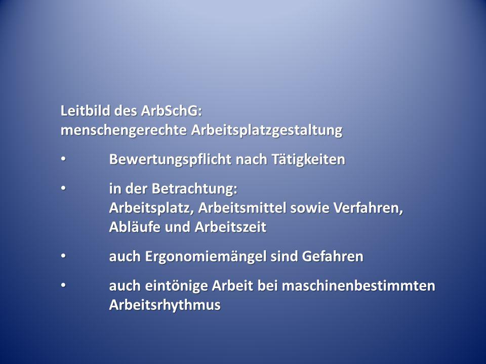 Leitbild des ArbSchG: menschengerechte Arbeitsplatzgestaltung Bewertungspflicht nach Tätigkeiten Bewertungspflicht nach Tätigkeiten in der Betrachtung