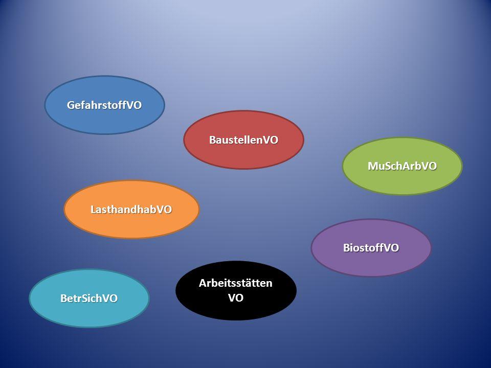 EU-Richtlinien Bundesgesetze ArbSchG, ASiG, SGB VII Verordnungen BG-Vorschriften Technische Regeln BG-Regeln