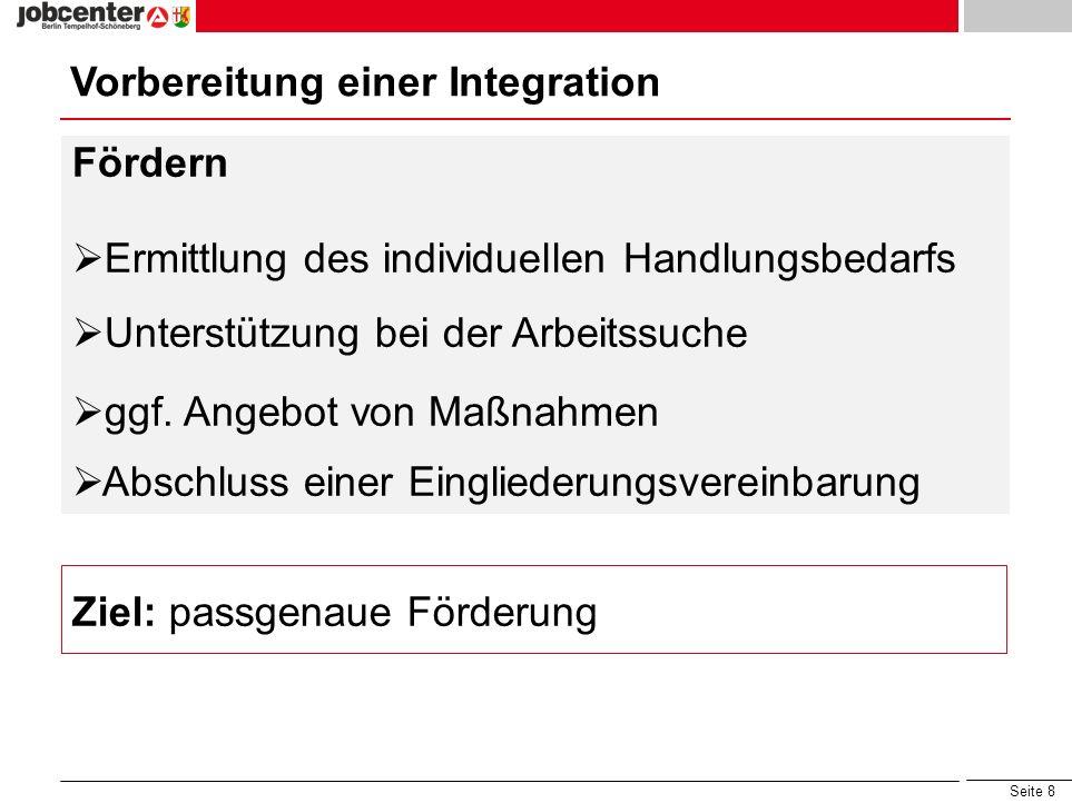 Seite 8 Vorbereitung einer Integration Fördern Ermittlung des individuellen Handlungsbedarfs Unterstützung bei der Arbeitssuche ggf. Angebot von Maßna