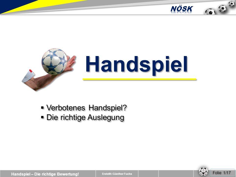 Handspiel – Die richtige Bewertung.Erstellt: Günther Fuchs Verbotenes Handspiel.