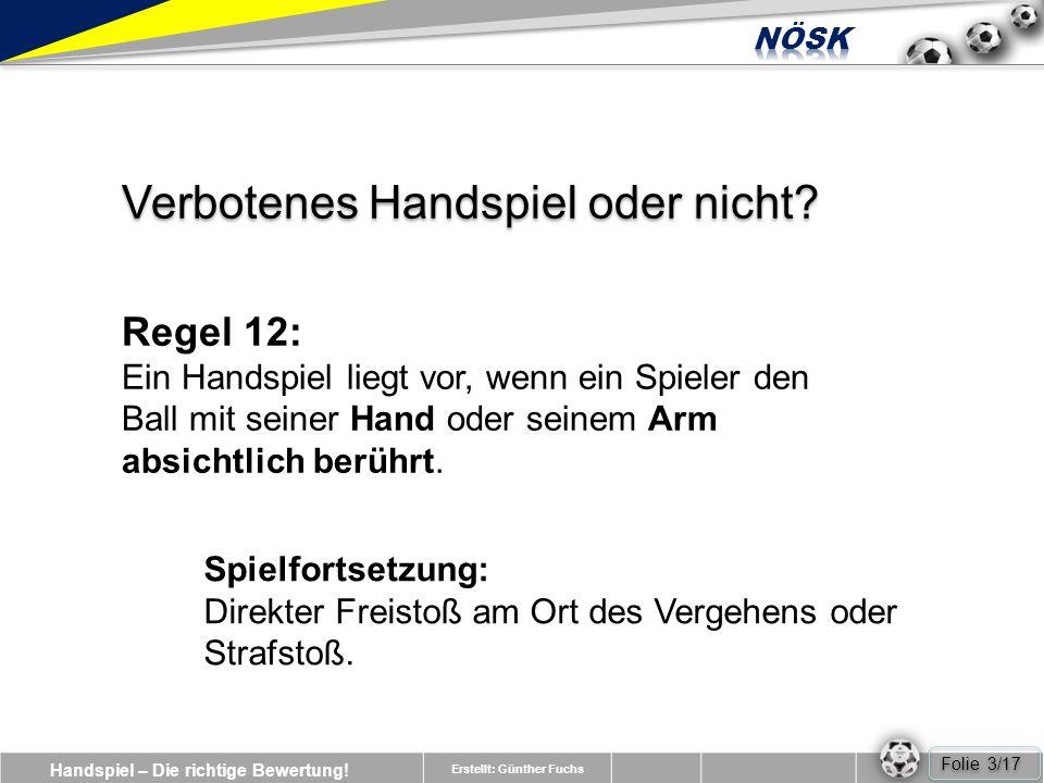 Handspiel – Die richtige Bewertung.Erstellt: Günther Fuchs Verbotenes Handspiel oder nicht.