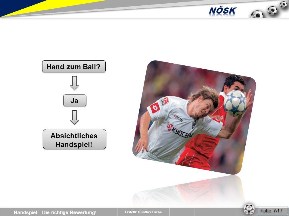 Handspiel – Die richtige Bewertung.Erstellt: Günther Fuchs Ja Hand zum Ball.