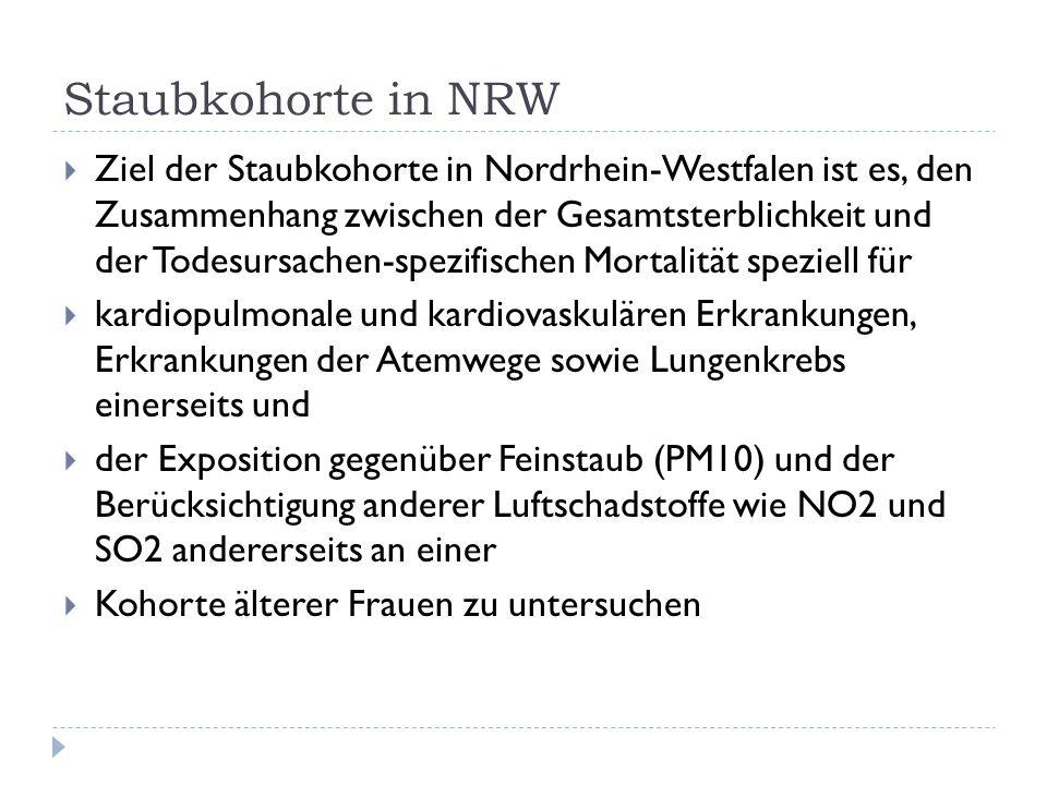 Staubkohorte in NRW Ziel der Staubkohorte in Nordrhein-Westfalen ist es, den Zusammenhang zwischen der Gesamtsterblichkeit und der Todesursachen-spezifischen Mortalität speziell für kardiopulmonale und kardiovaskulären Erkrankungen, Erkrankungen der Atemwege sowie Lungenkrebs einerseits und der Exposition gegenüber Feinstaub (PM10) und der Berücksichtigung anderer Luftschadstoffe wie NO2 und SO2 andererseits an einer Kohorte älterer Frauen zu untersuchen