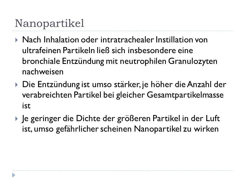 Nanopartikel Nach Inhalation oder intratrachealer Instillation von ultrafeinen Partikeln ließ sich insbesondere eine bronchiale Entzündung mit neutrophilen Granulozyten nachweisen Die Entzündung ist umso stärker, je höher die Anzahl der verabreichten Partikel bei gleicher Gesamtpartikelmasse ist Je geringer die Dichte der größeren Partikel in der Luft ist, umso gefährlicher scheinen Nanopartikel zu wirken