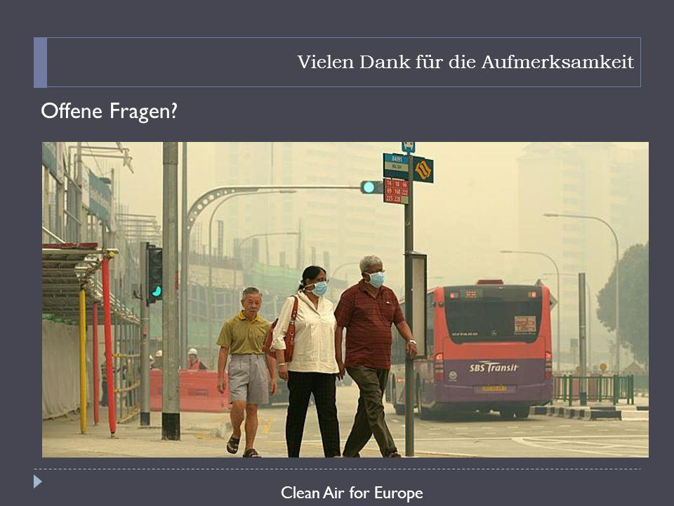 Vielen Dank für die Aufmerksamkeit Offene Fragen? Clean Air for Europe