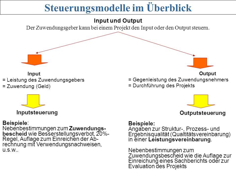 Input = Leistung des Zuwendungsgebers = Zuwendung (Geld) Output = Gegenleistung des Zuwendungsnehmers = Durchführung des Projekts Inputsteuerung Beisp