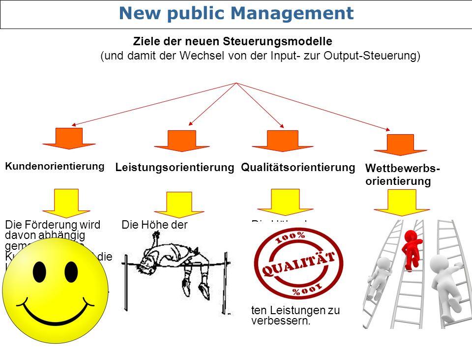 Kundenorientierung Leistungsorientierung Wettbewerbs- orientierung Qualitätsorientierung Die Förderung wird davon abhängig gemacht, ob die Kunden (Klienten) die Leistungsangebote der Leistungs- erbringer annehmen.