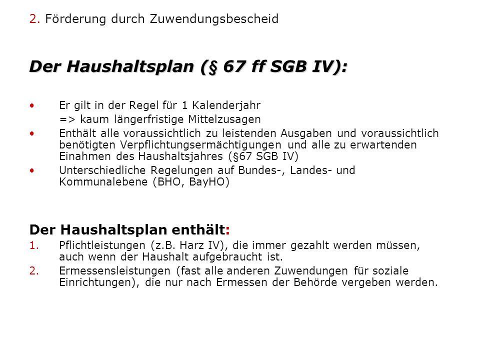 2. Förderung durch Zuwendungsbescheid Der Haushaltsplan (§ 67 ff SGB IV): Er gilt in der Regel für 1 Kalenderjahr => kaum längerfristige Mittelzusagen