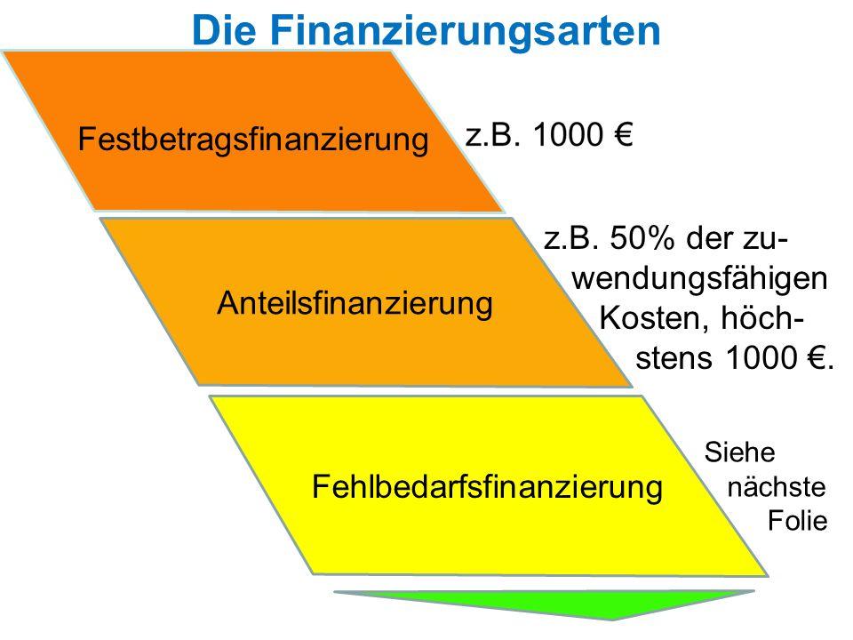Die Finanzierungsarten Festbetragsfinanzierung Anteilsfinanzierung Fehlbedarfsfinanzierung z.B. 50% der zu- wendungsfähigen Kosten, höch- stens 1000.