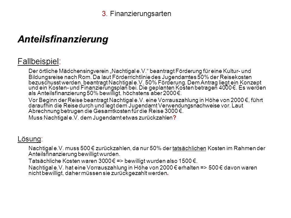 3. Finanzierungsarten Anteilsfinanzierung Fallbeispiel: Der örtliche Mädchensingverein Nachtigal e.V. beantragt Förderung für eine Kultur- und Bildung