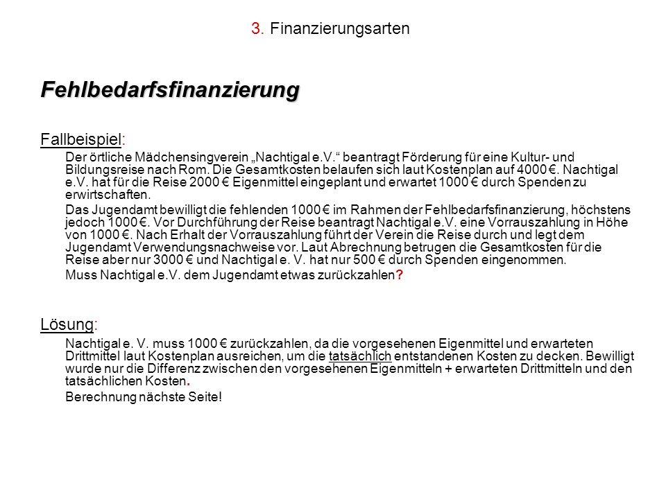 3. Finanzierungsarten Fehlbedarfsfinanzierung Fallbeispiel: Der örtliche Mädchensingverein Nachtigal e.V. beantragt Förderung für eine Kultur- und Bil