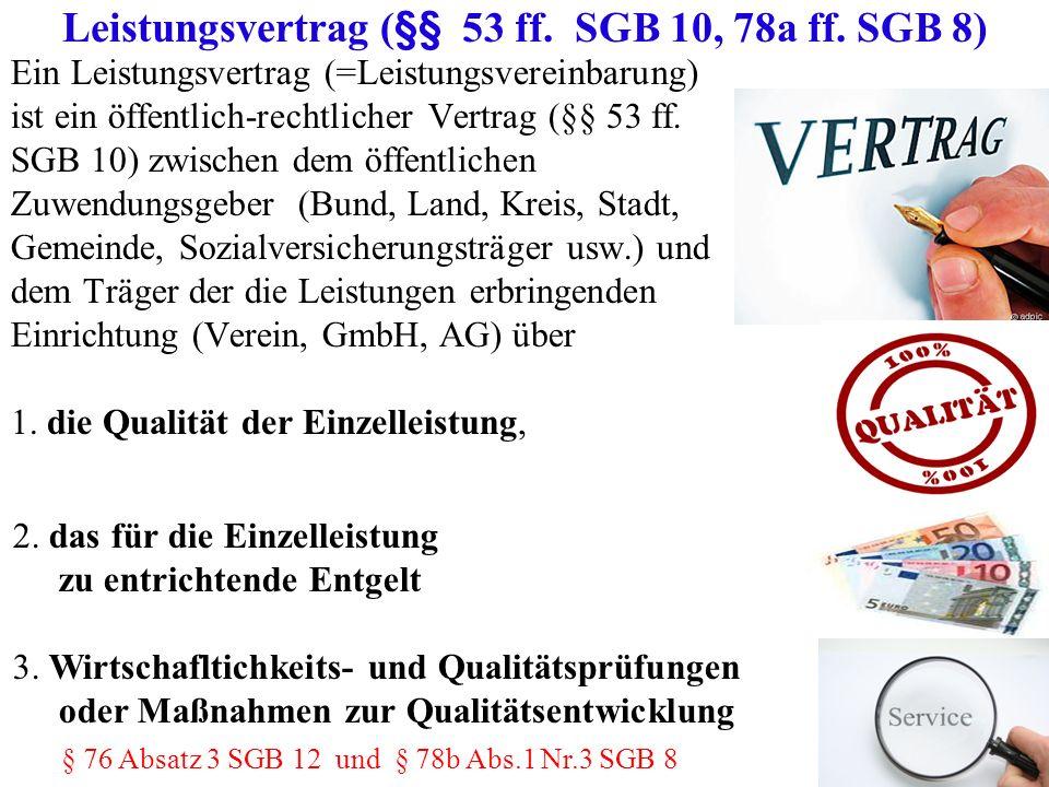 Ein Leistungsvertrag (=Leistungsvereinbarung) ist ein öffentlich-rechtlicher Vertrag (§§ 53 ff. SGB 10) zwischen dem öffentlichen Zuwendungsgeber (Bun