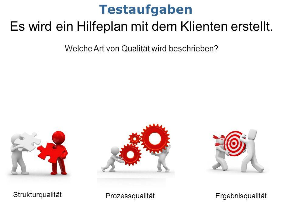 Es wird ein Hilfeplan mit dem Klienten erstellt. Welche Art von Qualität wird beschrieben? Strukturqualität ProzessqualitätErgebnisqualität Testaufgab