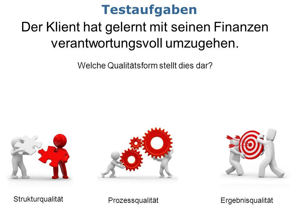 Der Klient hat gelernt mit seinen Finanzen verantwortungsvoll umzugehen. Welche Qualitätsform stellt dies dar? Strukturqualität ProzessqualitätErgebni