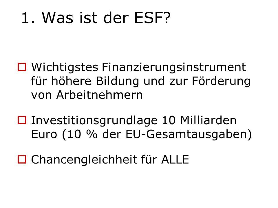 1. Was ist der ESF? Wichtigstes Finanzierungsinstrument für höhere Bildung und zur Förderung von Arbeitnehmern Investitionsgrundlage 10 Milliarden Eur