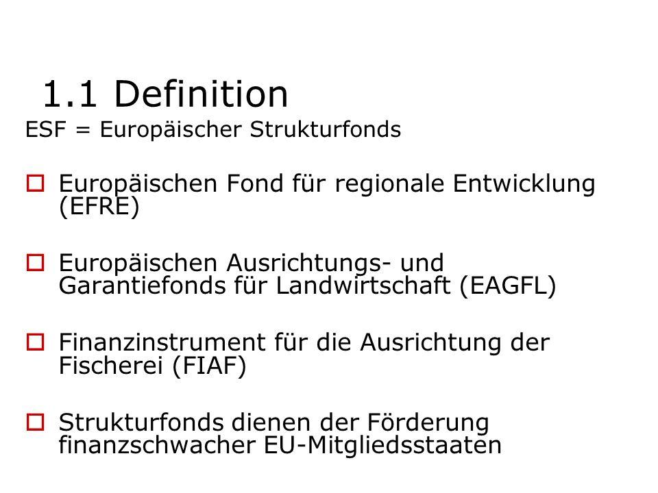 1.1 Definition ESF = Europäischer Strukturfonds Europäischen Fond für regionale Entwicklung (EFRE) Europäischen Ausrichtungs- und Garantiefonds für La