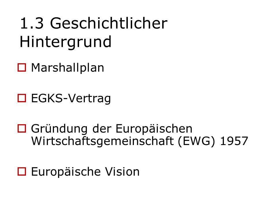 1.3 Geschichtlicher Hintergrund Marshallplan EGKS-Vertrag Gründung der Europäischen Wirtschaftsgemeinschaft (EWG) 1957 Europäische Vision