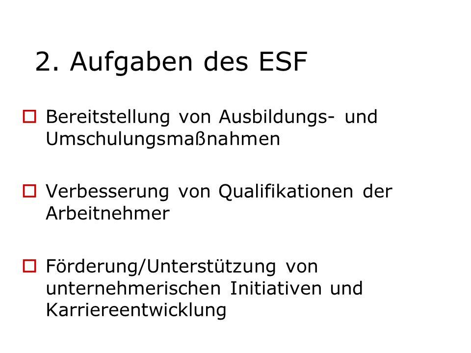 2. Aufgaben des ESF Bereitstellung von Ausbildungs- und Umschulungsmaßnahmen Verbesserung von Qualifikationen der Arbeitnehmer Förderung/Unterstützung