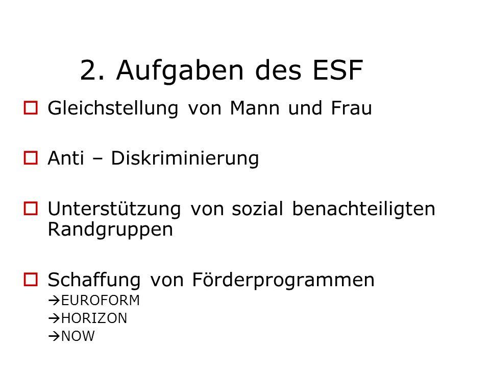 2. Aufgaben des ESF Gleichstellung von Mann und Frau Anti – Diskriminierung Unterstützung von sozial benachteiligten Randgruppen Schaffung von Förderp