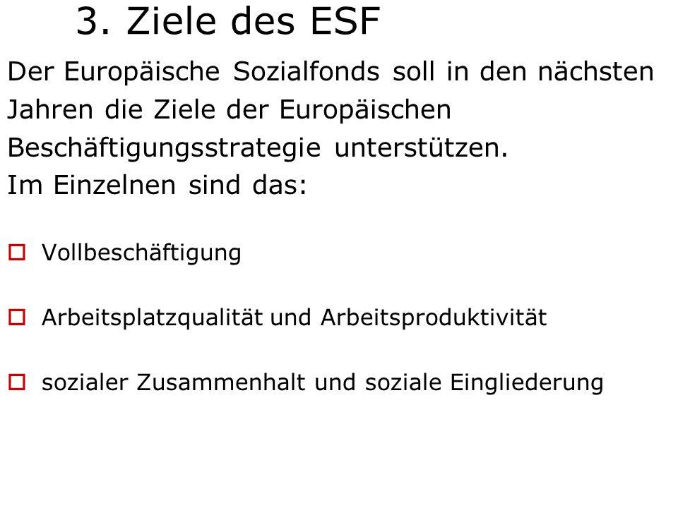 3. Ziele des ESF Der Europäische Sozialfonds soll in den nächsten Jahren die Ziele der Europäischen Beschäftigungsstrategie unterstützen. Im Einzelnen
