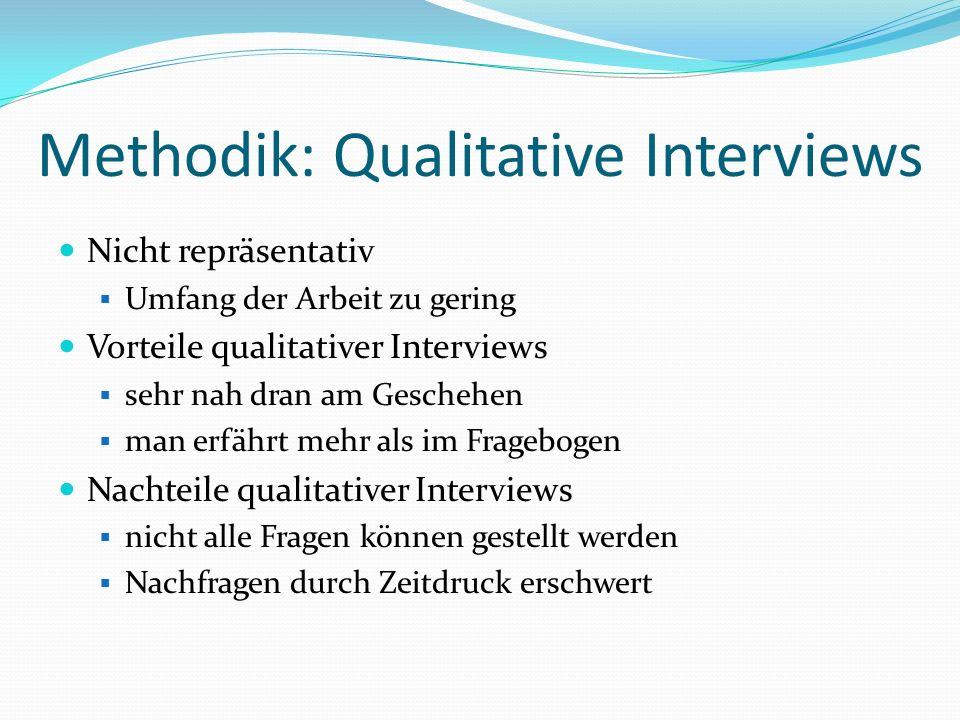 Methodik: Qualitative Interviews Nicht repräsentativ Umfang der Arbeit zu gering Vorteile qualitativer Interviews sehr nah dran am Geschehen man erfäh