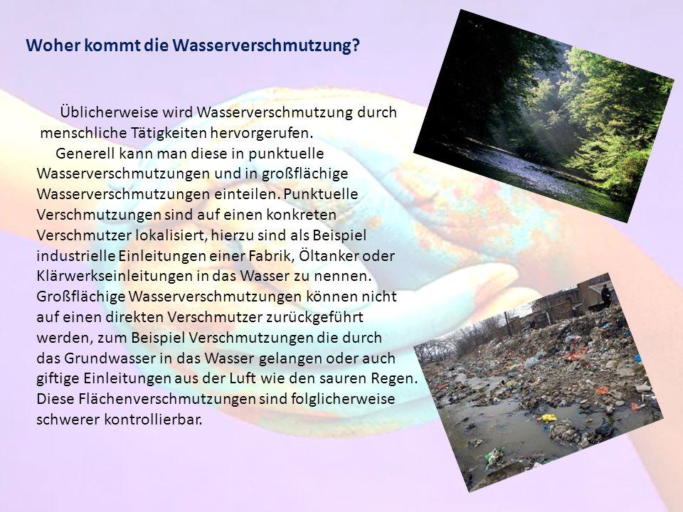 Woher kommt die Wasserverschmutzung? Üblicherweise wird Wasserverschmutzung durch menschliche Tätigkeiten hervorgerufen. Generell kann man diese in pu