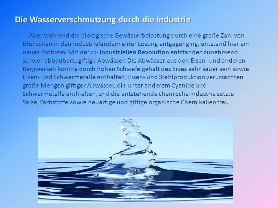 Die Wasserverschmutzung durch die Industrie Aber während die biologische Gewässerbelastung durch eine große Zahl von Menschen in den Industrieländern