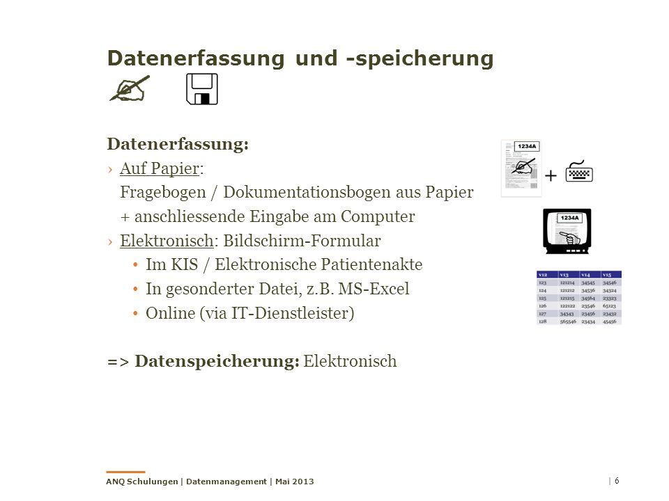 Datenerfassung und -speicherung Datenerfassung: Auf Papier: Fragebogen / Dokumentationsbogen aus Papier + anschliessende Eingabe am Computer Elektroni
