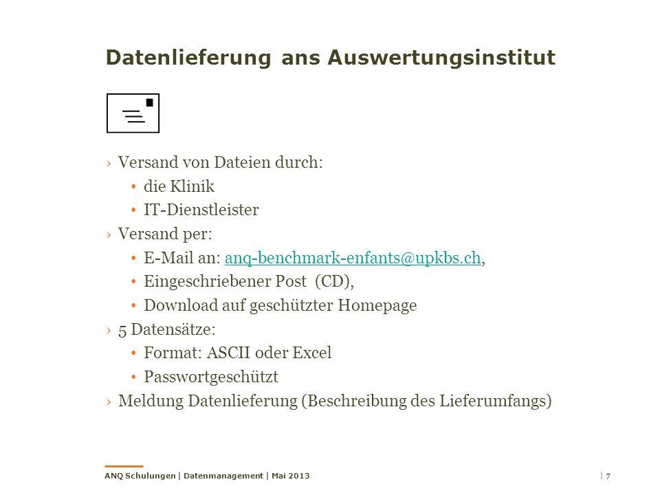 Datenlieferung ans Auswertungsinstitut Versand von Dateien durch: die Klinik IT-Dienstleister Versand per: E-Mail an: anq-benchmark-enfants@upkbs.ch,a