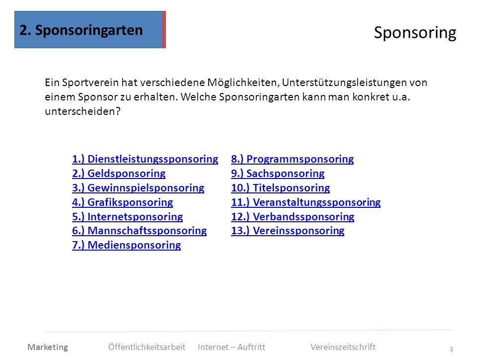 Sponsoring 1 Ein Sportverein hat verschiedene Möglichkeiten, Unterstützungsleistungen von einem Sponsor zu erhalten. Welche Sponsoringarten kann man k