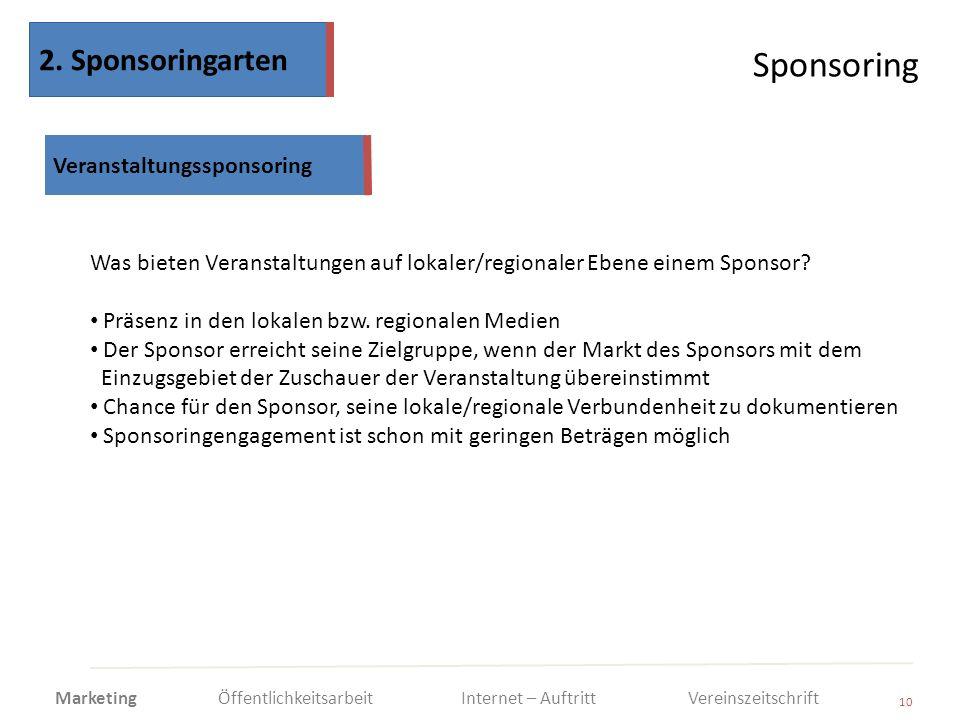 Sponsoring 10 Was bieten Veranstaltungen auf lokaler/regionaler Ebene einem Sponsor? Präsenz in den lokalen bzw. regionalen Medien Der Sponsor erreich