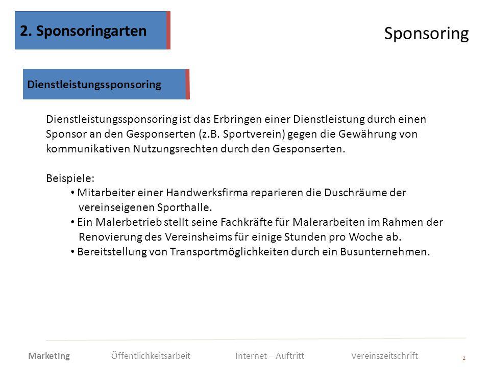 Sponsoring 2 Dienstleistungssponsoring ist das Erbringen einer Dienstleistung durch einen Sponsor an den Gesponserten (z.B. Sportverein) gegen die Gew