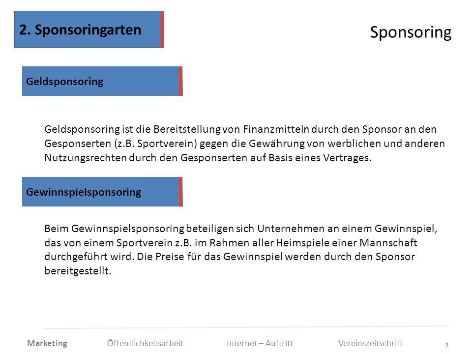 Sponsoring 3 Geldsponsoring ist die Bereitstellung von Finanzmitteln durch den Sponsor an den Gesponserten (z.B. Sportverein) gegen die Gewährung von
