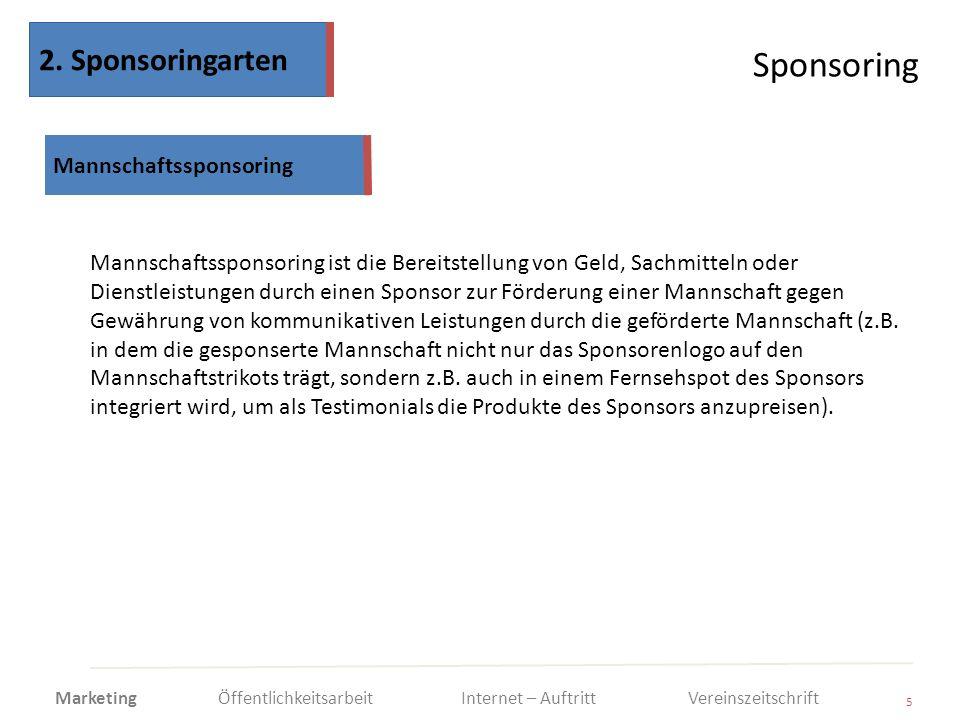 Sponsoring 5 Mannschaftssponsoring ist die Bereitstellung von Geld, Sachmitteln oder Dienstleistungen durch einen Sponsor zur Förderung einer Mannscha