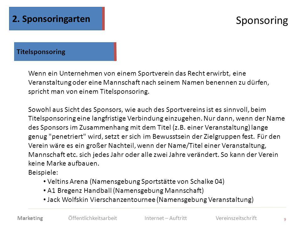 Sponsoring 9 Wenn ein Unternehmen von einem Sportverein das Recht erwirbt, eine Veranstaltung oder eine Mannschaft nach seinem Namen benennen zu dürfe