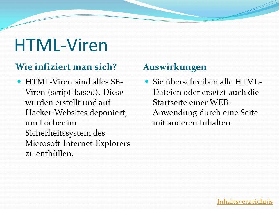HTML-Viren Wie infiziert man sich? Auswirkungen HTML-Viren sind alles SB- Viren (script-based). Diese wurden erstellt und auf Hacker-Websites deponier