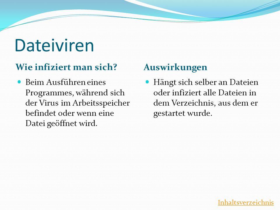 Dateiviren Wie infiziert man sich? Auswirkungen Beim Ausführen eines Programmes, während sich der Virus im Arbeitsspeicher befindet oder wenn eine Dat