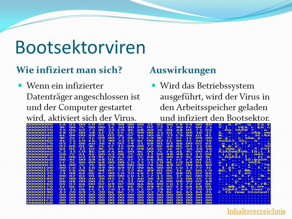 Bootsektorviren Wie infiziert man sich? Auswirkungen Wenn ein infizierter Datenträger angeschlossen ist und der Computer gestartet wird, aktiviert sic