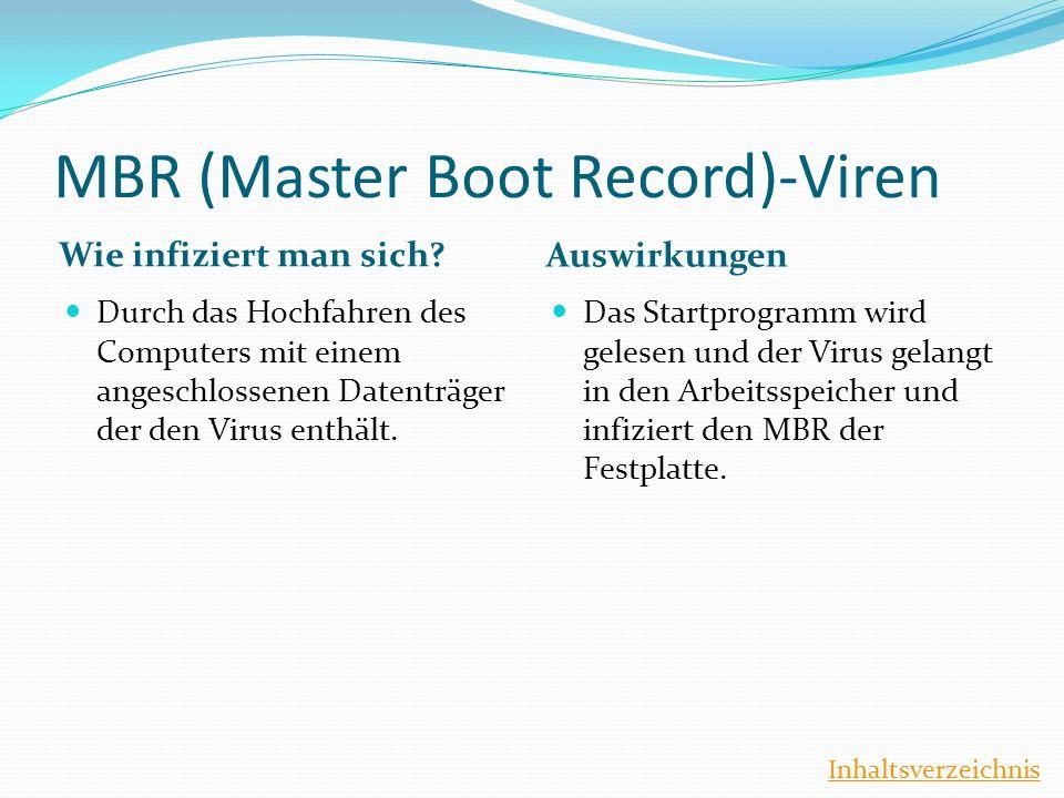 MBR (Master Boot Record)-Viren Wie infiziert man sich? Auswirkungen Durch das Hochfahren des Computers mit einem angeschlossenen Datenträger der den V