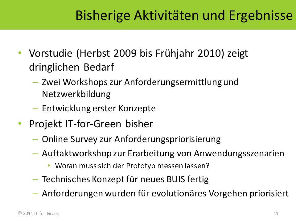 © 2011 IT-for-Green11 Bisherige Aktivitäten und Ergebnisse Vorstudie (Herbst 2009 bis Frühjahr 2010) zeigt dringlichen Bedarf – Zwei Workshops zur Anf