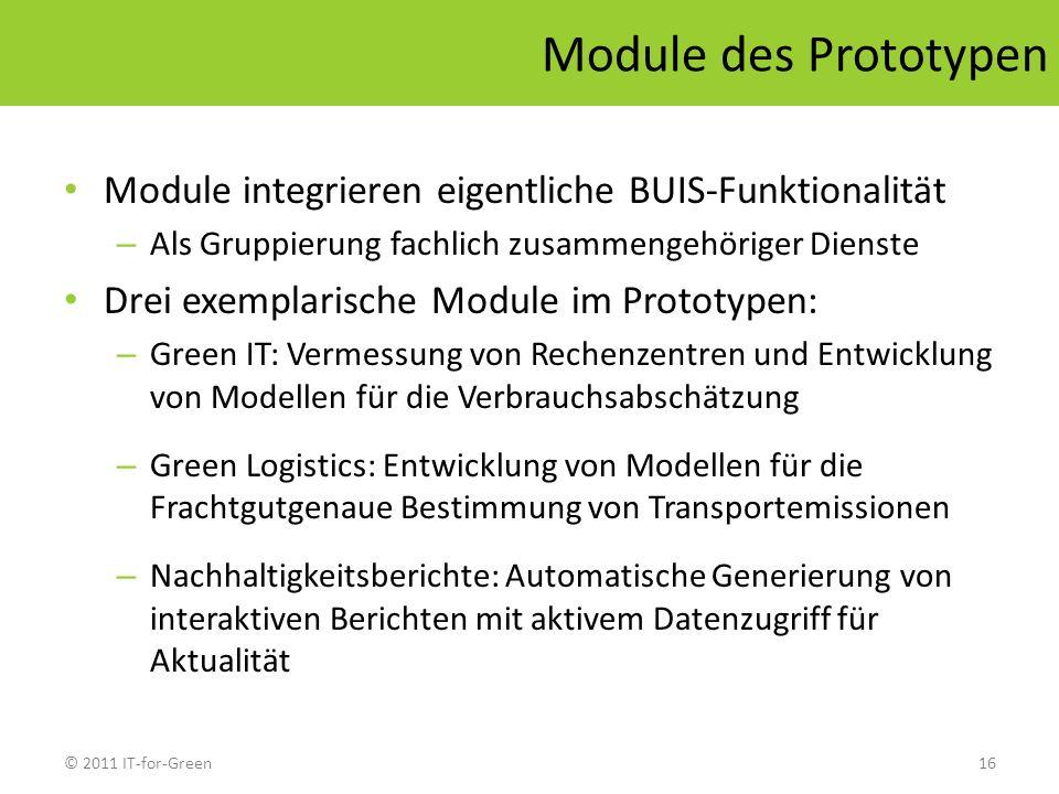 © 2011 IT-for-Green16 Module des Prototypen Module integrieren eigentliche BUIS-Funktionalität – Als Gruppierung fachlich zusammengehöriger Dienste Dr