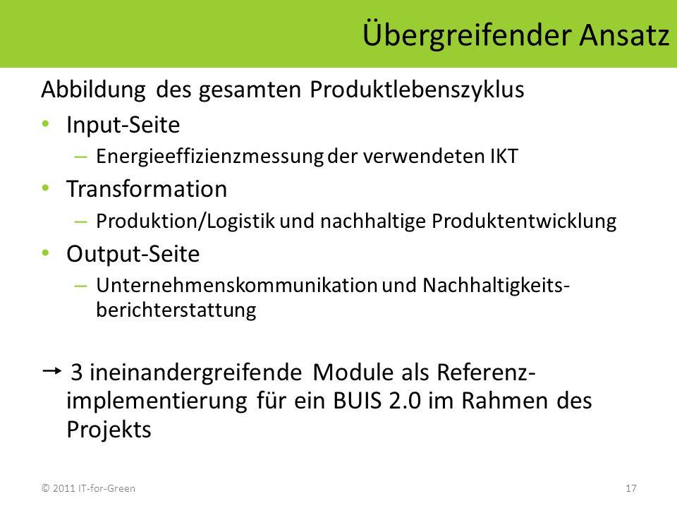 © 2011 IT-for-Green17 Übergreifender Ansatz Abbildung des gesamten Produktlebenszyklus Input-Seite – Energieeffizienzmessung der verwendeten IKT Trans