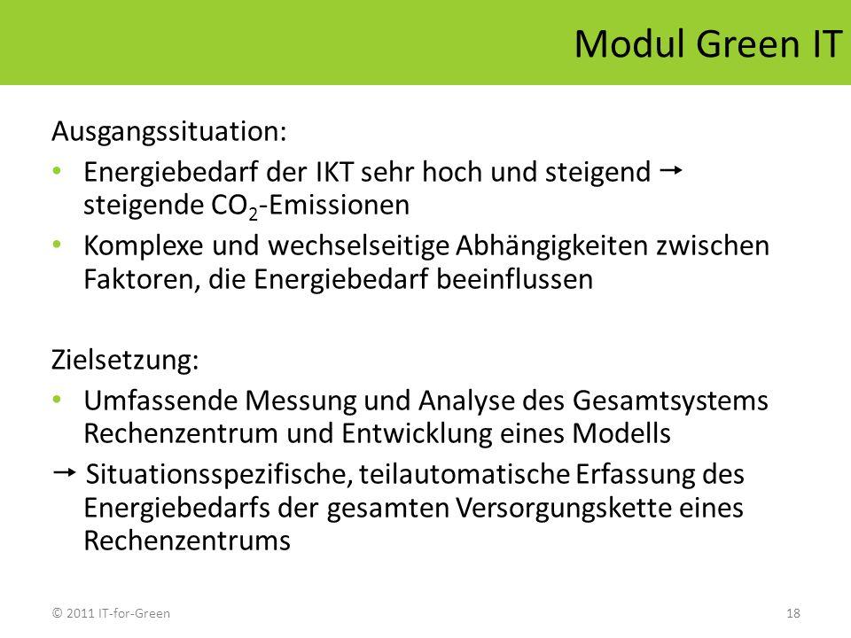 © 2011 IT-for-Green18 Modul Green IT Ausgangssituation: Energiebedarf der IKT sehr hoch und steigend steigende CO 2 -Emissionen Komplexe und wechselse