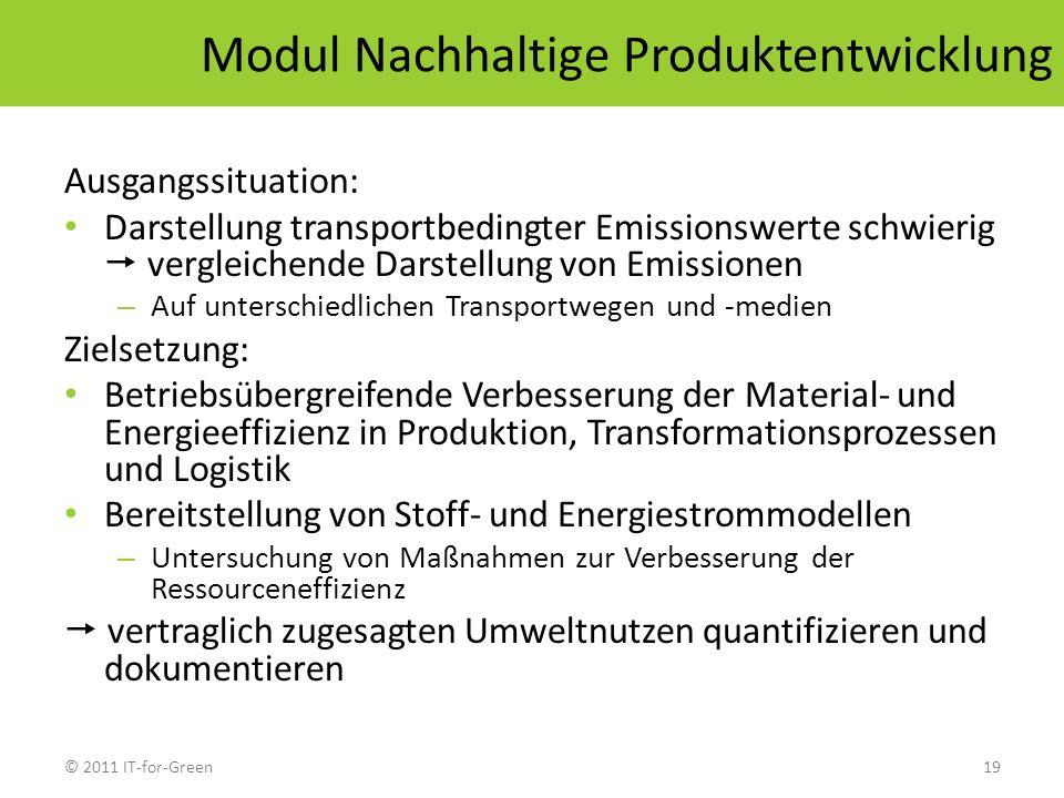 © 2011 IT-for-Green19 Modul Nachhaltige Produktentwicklung Ausgangssituation: Darstellung transportbedingter Emissionswerte schwierig vergleichende Da