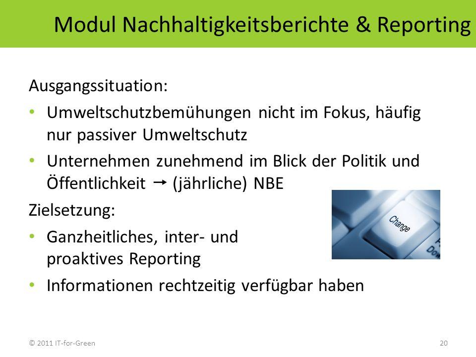 © 2011 IT-for-Green20 Modul Nachhaltigkeitsberichte & Reporting Ausgangssituation: Umweltschutzbemühungen nicht im Fokus, häufig nur passiver Umweltsc