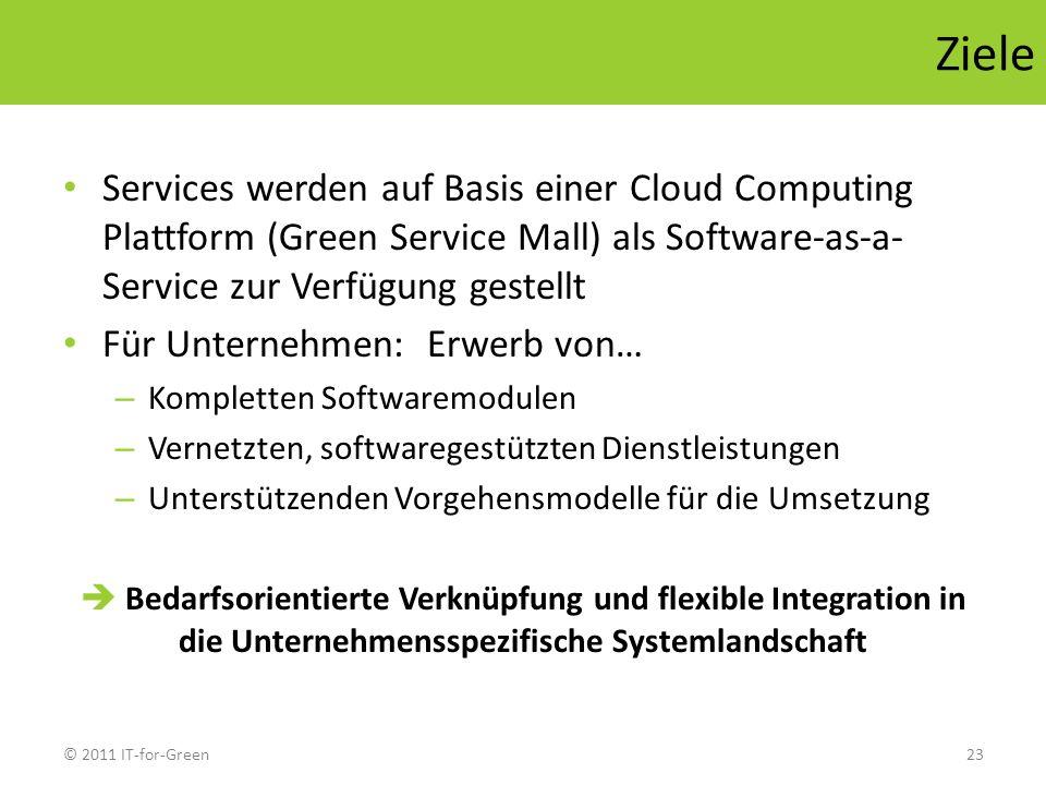 © 2011 IT-for-Green23 Ziele Services werden auf Basis einer Cloud Computing Plattform (Green Service Mall) als Software-as-a- Service zur Verfügung ge